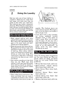 Everyday Household Tasks: Caring for Your Clothes-Doing the Laundry