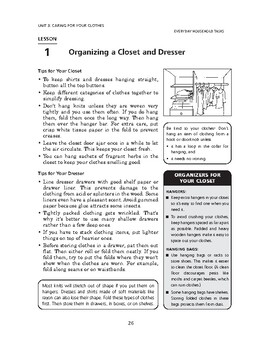 Everyday Household Tasks: Caring for Your Clothes-Organizing a Closet & Dresser