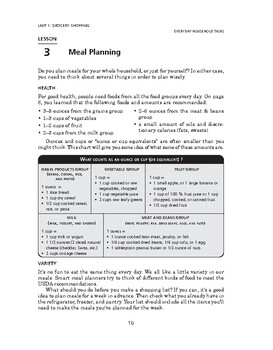 Everyday Household Tasks: Grocery Shopping-Meal Planning