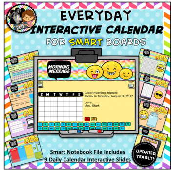 Everyday Interactive Calendar & Organizer for SMART Board PK K 1st EMOJI THEME