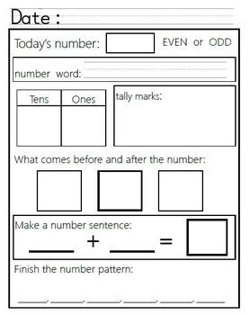 Everyday Learning -- A daily Math and Number Sense