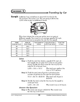 Everyday Life Math: Getting Around-Traveling by Car