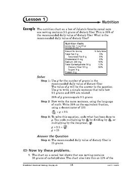 Everyday Life Math: Health-Nutrition