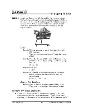 Everyday Life Math: Thrifty Thinking-Buying in Bulk