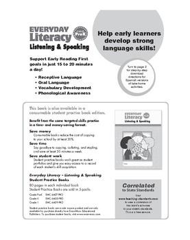 Everyday Literacy Listening and Speaking, Grade Pre-K