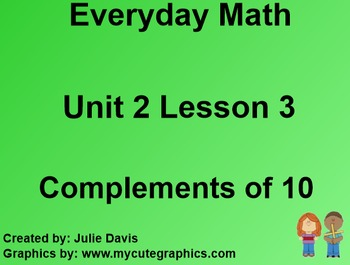Everyday Math 1st Grade 2.3 Compliments of 10