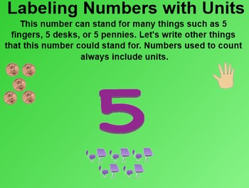 Everyday Math 1st Grade 2.4 Unit Labels for Numbers