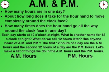 Everyday Math EDM 1st Grade 2.6 Telling Time to the Hour