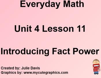 Everyday Math 1st Grade 4.11 Introducing Fact Power