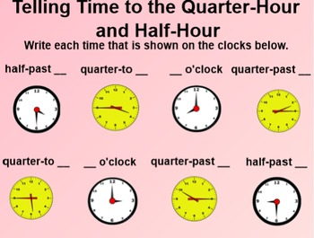 Everyday Math 1st Grade 4.8 Telling Time on the Quarter-Hour