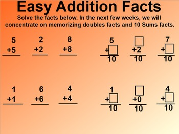 Everyday Math 1st Grade 5.11 Easy Facts