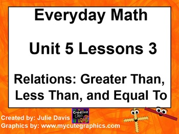 Everyday Math 1st Grade 5.3 Relations: Greater Than, Less Than, and Equal To