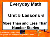 Everyday Math 1st Grade 5.6 More Than and Less Than Number Stories