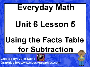 Everyday Math 1st Grade 6.5 Using the Facts Table for Subtraction