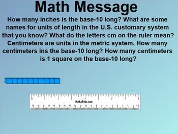Everyday Math 1st Grade 6.6 The Centimeter
