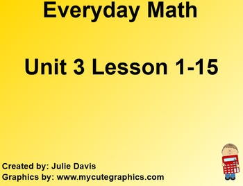 Everyday Math 1st Grade Unit 3 Bundle