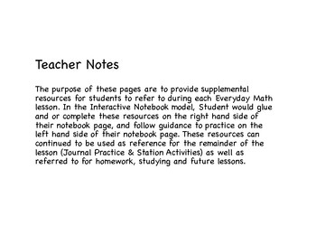 Everyday Math (2015) Interactive Notebook Pages, Grade 4, Unit 5