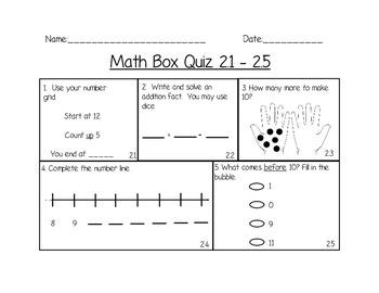 Everyday Math 2.1-2.5 Skill Check