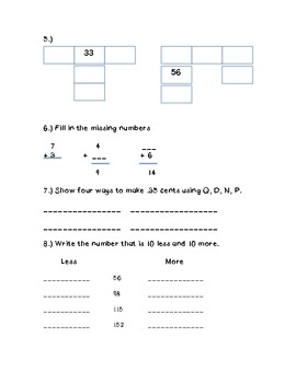 Everyday Math 2nd Grade Unit 1 Review