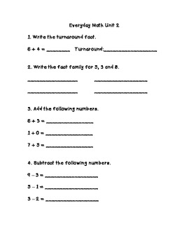 Everyday Math 2nd Grade Unit 2 Review
