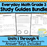 Everyday Math - Review & Study Guides Units 1-9 BUNDLE {Grade 3}