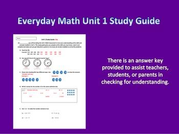 Everyday Math 3rd Grade Unit 1 Study Guide
