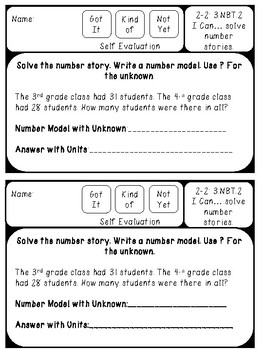 Everyday Math 3rd Grade Unit 2 Exit Tickets