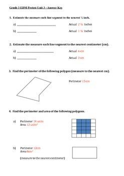 Everyday Math 3rd Grade Unit 3 Pretest