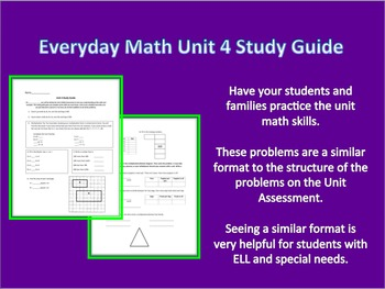 Everyday Math 3rd Grade Unit 4 Study Guide