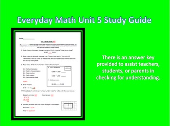 Everyday Math 3rd Grade Unit 5 Study Guide