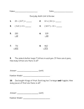 Everyday Math 3rd Grade Unit 6 Review/Quiz