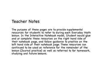 Everyday Math 4 (2015) Interactive Notebook Pages, Grade 4, Unit 1