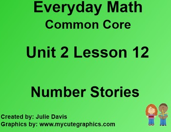 Everyday Math 4 Common Core Edition Kindergarten 2.12 Number Stories