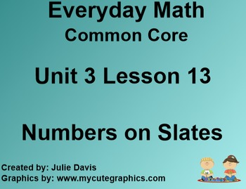 Everyday Math 4 Common Core Edition Kindergarten 3.13 Numbers on Slates