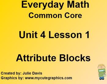 Everyday Math 4 Common Core Edition Kindergarten 4.1 Attribute Blocks