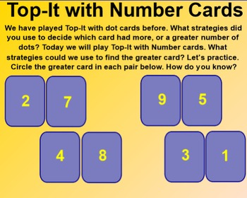 Everyday Math 4 Common Core EDM4 Kindergarten 4.12 Top It with Number Cards