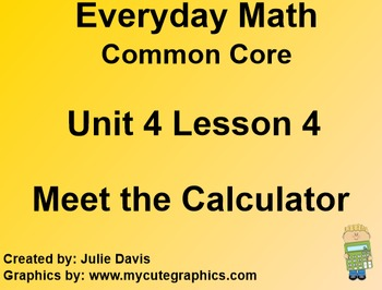 Everyday Math 4 EDM4 Common Core Edition Kindergarten 4.4 Meet the Calculator