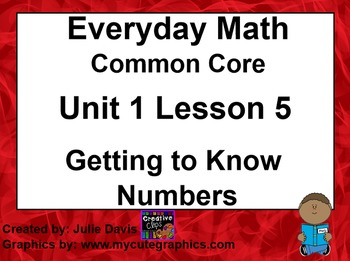Everyday Math 4 EDM4 Common Core Edition 1.5 Getting to Know Numbers