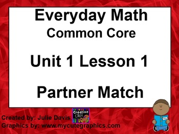Everyday Math 4 EDM4 Common Core Edition Kindergarten 1.1 Partner Match