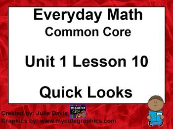 Everyday Math 4 EDM4 Common Core Edition Kindergarten 1.10 Quick Looks