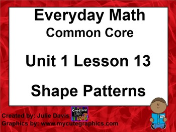 Everyday Math 4 EDM4 Common Core Edition Kindergarten 1.13 Shape Patterns