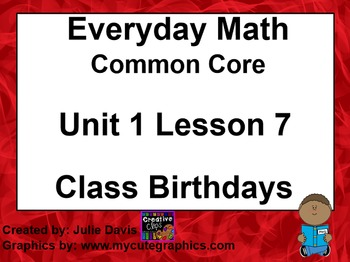 Everyday Math 4 EDM4 Common Core Edition Kindergarten 1.7 Class Birthdays