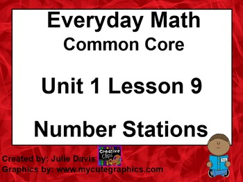 Everyday Math 4 EDM4 Common Core Edition Kindergarten 1.9 Number Stations