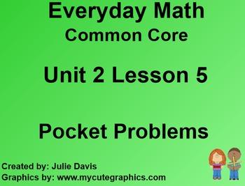 Everyday Math 4 EDM4 Common Core Edition Kindergarten 2.5 Pocket Problems