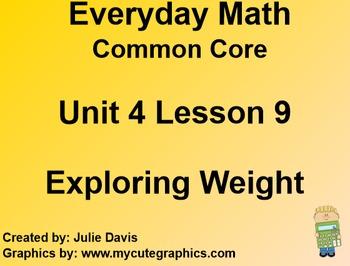 Everyday Math 4 EDM4 Common Core Edition Kindergarten 4.9 Exploring Weight