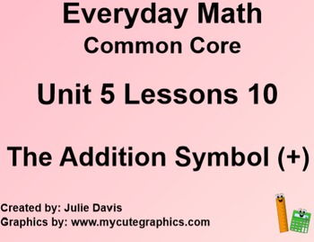 Everyday Math 4 EDM4 Common Core Edition Kindergarten 5.10 The Addition Symbol