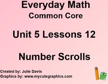Everyday Math 4 EDM4 Common Core Edition Kindergarten 5.12 Number Scrolls