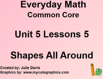 Everyday Math 4 EDM4 Common Core Edition Kindergarten 5.5 Shapes All Around