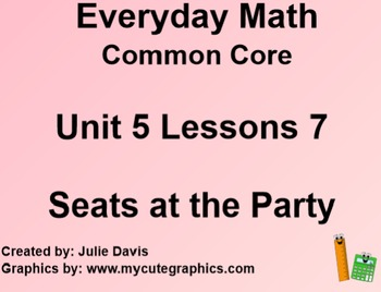 Everyday Math 4 EDM4 Common Core Edition Kindergarten 5.7 Seats at the Party
