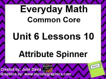 Everyday Math 4 EDM4 Common Core Edition Kindergarten 6.10 Attribute Spinner